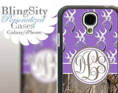 Monogram Galaxy S4 case S5 Browning Purple Real Tree Camo Deer Personalized RealTree Samsung Galaxy S3 Case Note 2 3 Cover