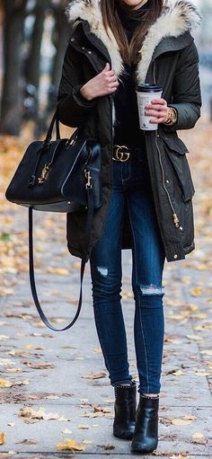 #fall #outfits Green Coat // Ripped Jeans // Ankle Boots // Leather Tote
