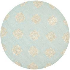 Safavieh Soho Juniper Wool Round Rug, Light Blue / Beige, 6' Diameter