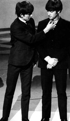 George fixes John's tie. #TheBeatles {Follow @poppybarley on Twitter & Instagram, too}
