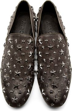 Grey Star-Studded 'Sloane' Loafers  :  Jimmy Choo