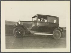 Charles Prendergast in car at Williams College Museum of Art, Prendergast Archive and Study Center.