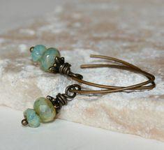 Dainty Earrings Baby Blue Opal Earrings by CharmingLifeJewelry, $15.00