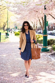 dragonfly print shirt dress, camel blazer-5.jpg