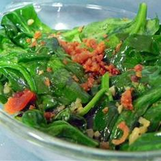 Pan Fried Spinach & Bacon (I use half the oil, add lots more spinach, & also add a splash of red wine vinegar)
