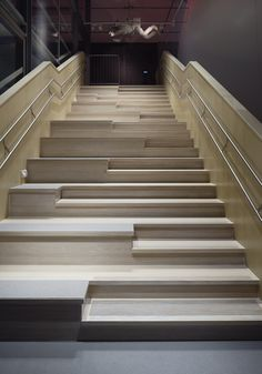 Image 23 of 40 from gallery of MegaMind / Albert France-Lanord Architects. Photograph by Ake E:son Lindman Staircase Handrail, Marble Staircase, Interior Staircase, Grand Staircase, Stair Railing, Staircase Design, Architecture Design, Stairs Architecture, Contemporary Stairs