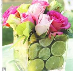 lime centerpiece or lemons float flowers or candles.