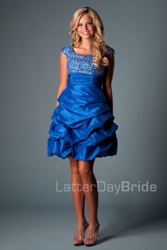 A fun short gown with a bustled taffeta skirt!