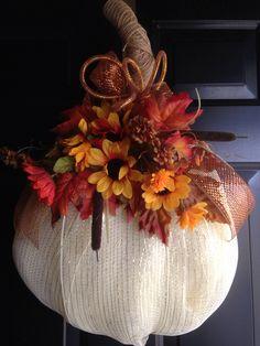 White pumpkin deco mesh wreath $25 Deco Mesh Wreaths, Fall Wreaths, Fall Halloween, Halloween Ideas, White Wreath, Pumpkin Wreath, White Pumpkins, Fall Decorations, Craft Sale