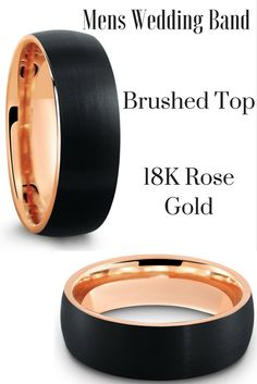 Mens Black Brushed Tungsten  Wedding Ring! 8mm mens wedding band with black top and rose gold interior. I love the modern look of this wedding band.