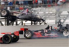 Stan Fox flies over Eddie Cheavers in a first lap crash at the 1995 Indy 500.