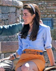 love the orange skirt, headband, button down, belt. love it all, i guess.