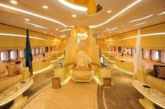 inside one of the worlds most expensive Jet's. owned by Roman Abramovich