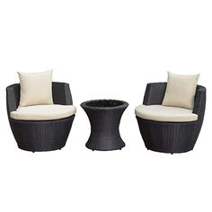 cc7f56bbe5f Devoko Patio Porch Furniture Set 3 Piece PE Rattan Wicker Chairs Beige  Cushion With Table Outdoor Garden Furniture Sets (Rattan