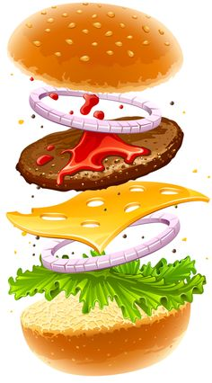 "Photo from album ""Салаты"" on Yandex. Pub Food, Food Menu, Food Clipart, Burger Restaurant, Food Icons, Food Drawing, Colorful Drawings, Food Illustrations, Burger Recipes"