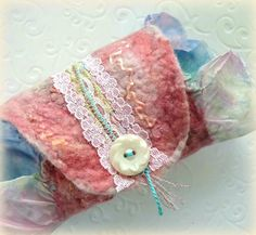 Fabric Cuff Bracelet. Wide Fibre Cuff. Felted Wool by sesenarts