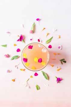 rose cocktail with floral sprinkles | sugarandcloth.com