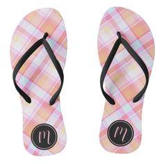 #ad Plaid Pattern, Flip Flops, Pastel, Monogram, Slip On, Sandals, Prints, Color, Black