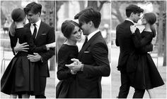 Classic and timeless when wearing black for an engagement shoot. I want that dress!