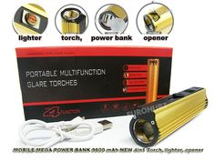 MEGA POWER BANK CHARGEUR 9600 mAh NEW 4in1 Torch Q4 3w, lighter, opener .