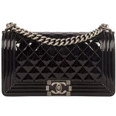 Chanel Black Patent Leather Boy Bag - Hard To Find in Stores