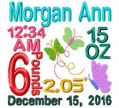 Birth announcement template embroidery by BowsAndClothesDesign