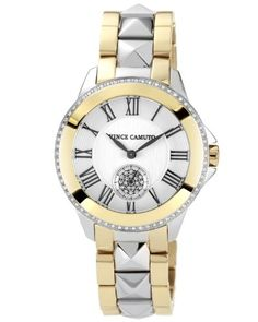 Vince Camuto Two-Tone Swarovski Crystal-Accented Bracelet Watch. Vince Camuto Women's VC/5049SVTT Two-Tone Swarovski Crystal-Accented Bracelet Watch. Sixty-six sparkling Swarovski crystals frame the bezel of this Vince Camuto watch while a center row of pyramids adds a touch of rocker edge to the two-tone bracelet. Japanese Quartz movement with analog display and protective mineral crystal dial window. Design features silver-tone dial with textured outer zone, black Roman numerals, pave…