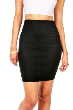 "Basic stretchy bodycon pencil skirt with a short slit at the back. Zipper closure at the back. Recommend 1 size up. *Hand Wash Cold *70% Rayon 25% Nylon 5% Spandex *19.5"" Top to Bottom *Imported"