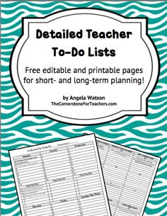 From The Cornerstone: Detailed Teacher To-Do Lists FREEBIE includes  long-range planning form, Language Arts block planner, blank planning pages.