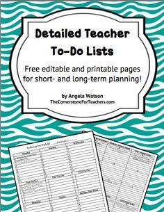 Detailed Teacher To-Do Lists