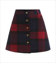 The Style Syndrome Plaid Single Breasted A Line Skirt