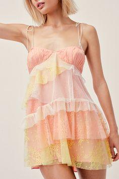 Sorbet Lace Mini Dress – For Love & Lemons Dresses Short, Hoco Dresses, Pretty Dresses, Dress Outfits, Preppy Outfits, Summer Outfits, Cute Outfits, Fashion Outfits, Summer Dresses