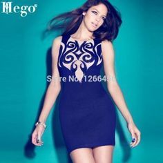 HEGO 2015 New Fashion Celebrity Dress High Neck Flower Print Blue Party Bandage Dress With 90% Rayon H786