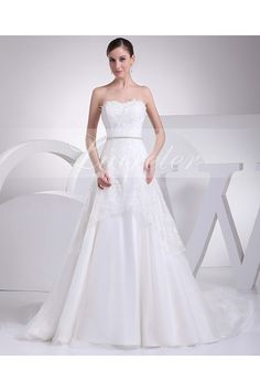 Popular A-Line Floor Length Sweetheart White Lace Crystle Wedding Dress