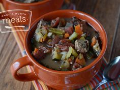 Slow Cooker Italian Beef Stew - Once a Month Meals. No cook prep - just combine ingredients and freeze. To cook, thaw and dump in slow cooker. Ww Recipes, Light Recipes, Slow Cooker Recipes, Crockpot Recipes, Freezer Recipes, Healthy Recipes, Healthy Freezer Meals, Freezer Cooking, Crock Pot Cooking