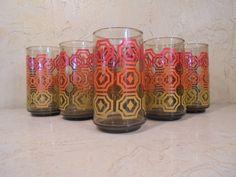 Retro Atomic Mid Century Modern Geometric Pattern Red Yellow Orange juice 1970's Juice Water Cocktail Tumbler Serving Glasses Set of Six