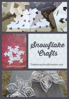 Snowflake Crafts - The Homeschool Scientist Fall Crafts, Crafts To Make, Home Crafts, Crafts For Kids, Diy Crafts, Christmas Crafts, Winter Fun, Winter Christmas, How To Make Snowflakes