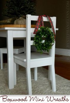 Under The Table and Dreaming: Make Your Own Mini Boxwood Wreaths {Ballard Inspired Chair Back Wreaths}