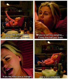 Drunk Sookie Stackhouse sings her own vampire-version of the Pina Colada song! True Blood.