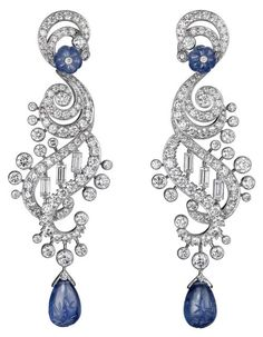 198028b9e Sapphire Earrings A splendid creation by Cartier in which the diamond  necklace is enriched with sapphire drops that slide down the neckline and  complement