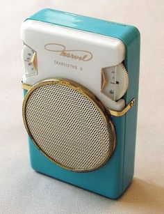 The iPod has nothing on this adorably turquoise transistor radio from the early 1960s.  This is too cute :)