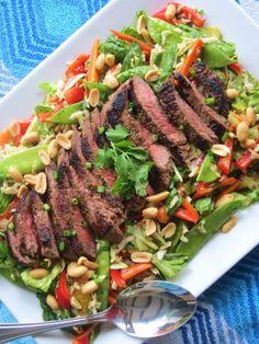Asian Beef Salad with Sesame Orange Ginger Vinaigrette – repurposed life Thai Beef Salad, Meat Salad, Asian Beef Salad Recipe, Lettuce Salads, Asian Recipes, Beef Recipes, Healthy Recipes, Asian Foods, Healthy Salads