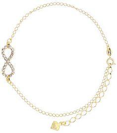 Tornozeleira folheada a ouro c/ símbolo do infinito em strass-Clique para maiores detalhes