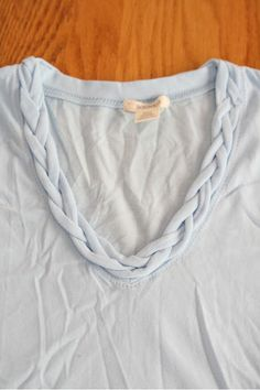 Banana Republic braided top DIY from t-shirt (no-sew) but I would consider tacking it down.