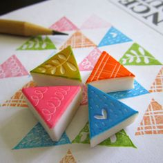 Geometric Triangles Rubber Stamps - Set of 4