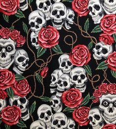 Get Cutie skulls and roses fabric