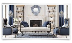 Restoration Hardware - Diamante Flatweave Linen Rug, French Empire Metal Daybed, Vintage-Washed Indigo Linen Pillow, Lorraine Chair, French Ticking Stripe Pillow, French Tilt-Top Brasserie Table, Parisian Cornice Shelving, Rococo Iron & Crystal Floor Lamp, Heavyweight Textured Belgian Linen Drapery