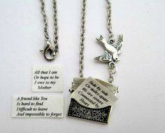 bird inspirational messages | Silver envelope necklace with personalised message and bird charm