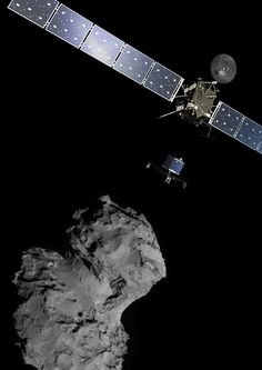 Rosetta's audacious mission to land on a comet. n artist's impression of Rosetta sending the Philae lander towards comet 67P/Churyumov Gerasimenko.