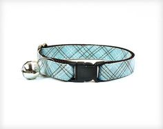 Cat Collar - Blue Skies - Light Blue & Brown Check / Plaid by MadeByCleo. #madebycleo #catcollar #cat #cute #kitten #petaccessory #collar #preppy #babyblue #plaid